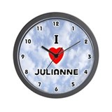 I Love Julianne (Black) Valentine Wall Clock