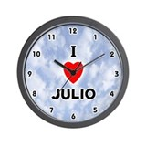 I Love Julio (Black) Valentine Wall Clock