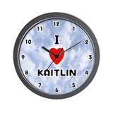 I Love Kaitlin (Black) Valentine Wall Clock