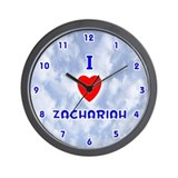 I Love Zachariah (Blue) Valentine Wall Clock