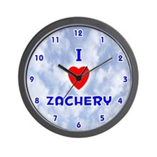 I Love Zachery (Blue) Valentine Wall Clock