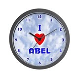 I Love Abel (Blue) Valentine Wall Clock