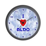 I Love Aldo (Blue) Valentine Wall Clock