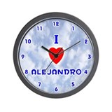 I Love Alejandro (Blue) Valentine Wall Clock