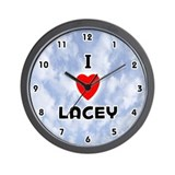 I Love Lacey (Black) Valentine Wall Clock