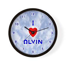 I Love Alvin (Blue) Valentine Wall Clock