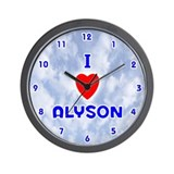 I Love Alyson (Blue) Valentine Wall Clock