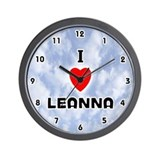 I Love Leanna (Black) Valentine Wall Clock