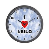 I Love Leila (Black) Valentine Wall Clock