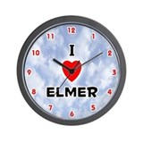 I Love Elmer (Red/Blk) Valentine Wall Clock