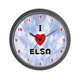 I Love Elsa (Red/Blk) Valentine Wall Clock