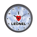I Love Leonel (Black) Valentine Wall Clock