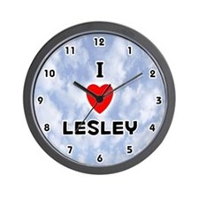 I Love Lesley (Black) Valentine Wall Clock
