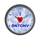 I Love Antony (Blue) Valentine Wall Clock