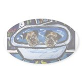 BORDER TERRIER bath Oval Decal