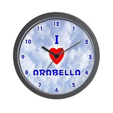 I Love Arabella (Blue) Valentine Wall Clock