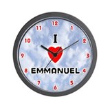 I Love Emmanuel (Red/Blk) Valentine Wall Clock