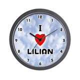 I Love Lilian (Black) Valentine Wall Clock