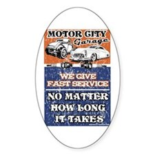 MOTOR CITY GARAGE 2 Oval Sticker