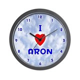 I Love Aron (Blue) Valentine Wall Clock