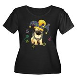 Party Pug Women's Plus Size Scoop Neck Dark T-Shir
