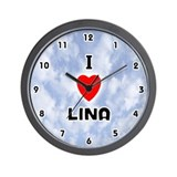 I Love Lina (Black) Valentine Wall Clock