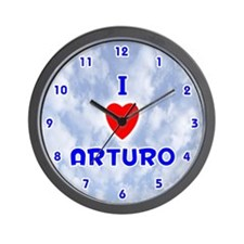 I Love Arturo (Blue) Valentine Wall Clock