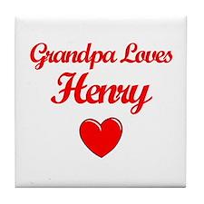 Grandpa Loves Henry Tile Coaster