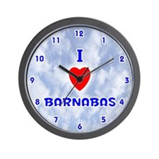 I Love Barnabas (Blue) Valentine Wall Clock