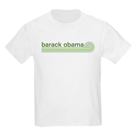 Barack Obama (retro green) Kids Light T-Shirt
