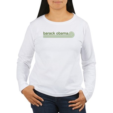 Barack Obama (retro green) Womens Long Sleeve T-S