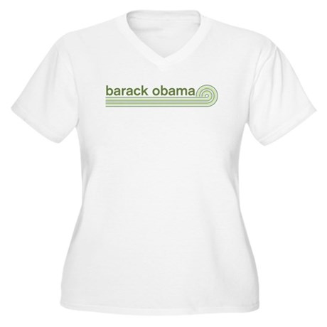 Barack Obama (retro green) Womens Plus Size V-Nec