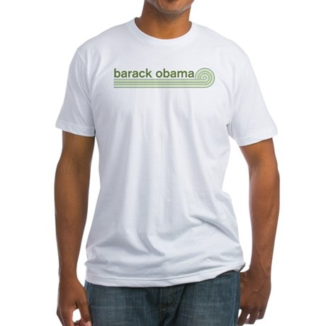 Barack Obama (retro green) Fitted T-Shirt