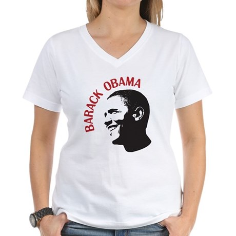 Barack Obama Head Shot (red) Women's V-Neck T-Shir