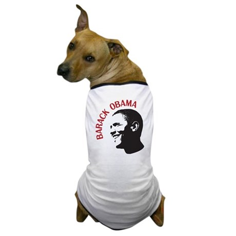 Barack Obama Head Shot (red) Dog T-Shirt