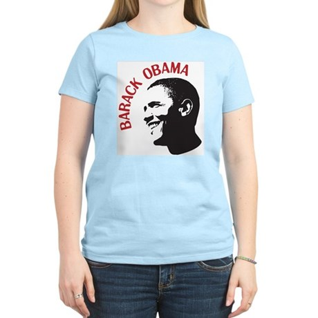 Barack Obama Head Shot (red) Womens Light T-Shirt
