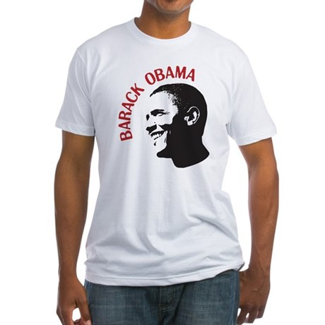 Barack Obama Head Shot (red) Fitted T-Shirt