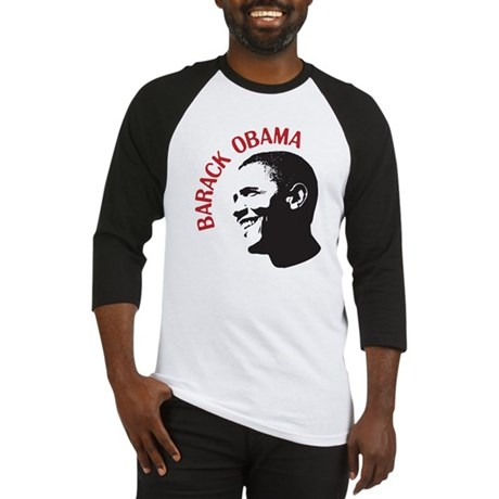 Barack Obama Head Shot (red) Baseball Jersey