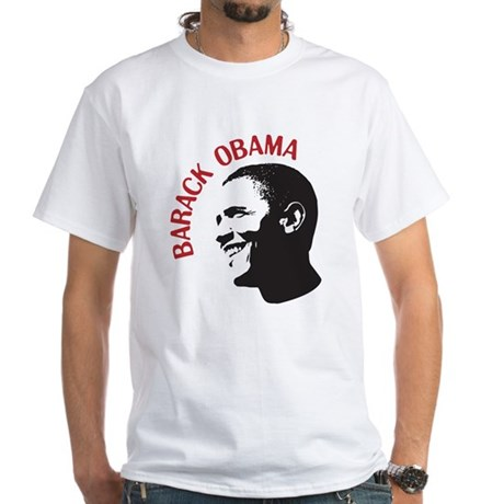 Barack Obama Head Shot (red) White T-Shirt