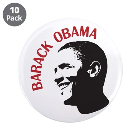 "Barack Obama Head Shot (red) 3.5"" Button (10 pack)"