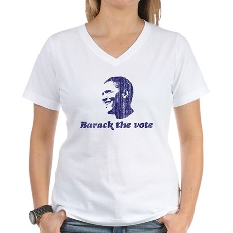 Barack the Vote (vintage blue Women's V-Neck T-Shi