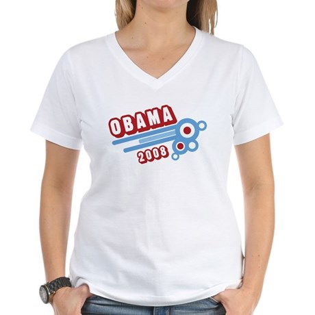 Obama 2008 (retro) Women's V-Neck T-Shirt