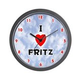 I Love Fritz (Red/Blk) Valentine Wall Clock