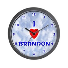 I Love Brandon (Blue) Valentine Wall Clock