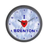 I Love Brenton (Blue) Valentine Wall Clock