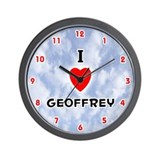 I Love Geoffrey (Red/Blk) Valentine Wall Clock