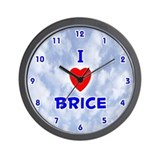 I Love Brice (Blue) Valentine Wall Clock