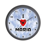 I Love Maria (Black) Valentine Wall Clock
