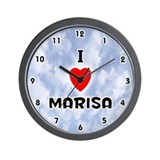 I Love Marisa (Black) Valentine Wall Clock