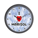 I Love Marisol (Black) Valentine Wall Clock